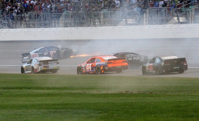 A big melee breaks out deep in the field at Kansas. Photo Credit: Mark Dottle / Rubbings Racing.