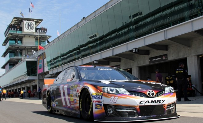 Denny Hamlin about to take to the track. (Photo Credit: Mark Dottle / Rubbings Racing)