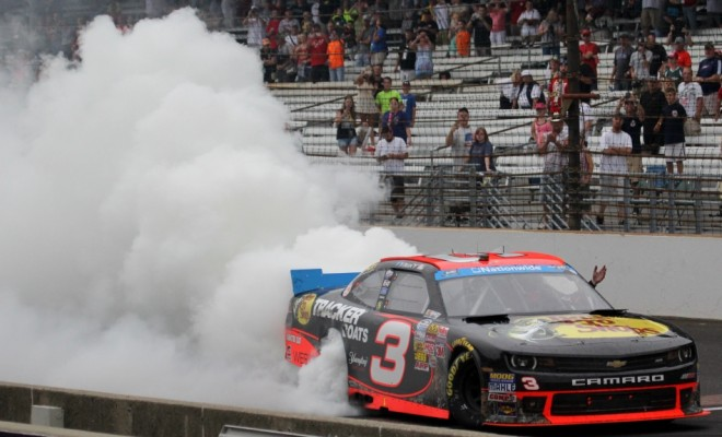 Ty Dillon lights up the tires on the bricks at Indianapolis. (Photo Credit: Mark Dottle / Rubbings Racing)