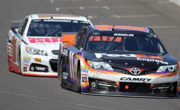 Denny Hamlin and Dale Earnhardt Jr. get trapped deep in the field when their strategy goes awry.  (Photo Credit: Mark Dottle / Rubbings Racing)