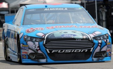 Aric Almirola's car during practice for the GoBowling.com 400 at Pocono Raceway on August 1, 2014