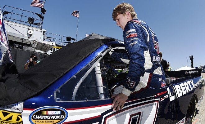 NEWTON, IA - JUNE 17: William Byron, driver of the #9 Liberty University Toyota, gets ready during practice for the NASCAR Camping World Truck Series Speediatrics 200 at Iowa Speedway on June 17, 2016 in Newton, Iowa. (Photo by Rainier Ehrhardt/NASCAR via Getty Images)