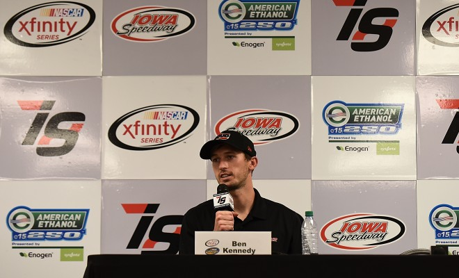 NEWTON, IA - JUNE 18:  Ben Kennedy, driver of the #33 Wheelwell Chevrolet and the #2 Ruud Chevrolet, speaks during a press conference at Iowa Speedway on June 18, 2016 in Newton, Iowa.  (Photo by Jonathan Moore/NASCAR via Getty Images)