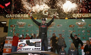 AVONDALE, AZ - NOVEMBER 12:  Todd Gilliland, driver of the #54 Frontline Enterprises Toyota, celebrates in victory lane after winning the NASCAR K&N Pro Series West Casino Arizona 100 at Phoenix International Raceway on November 12, 2015 in Avondale, Arizona.  (Photo by Todd Warshaw/NASCAR via Getty Images)