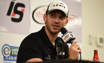 NEWTON, IA - JUNE 17:  Daniel Suarez, driver of the #19 ARRIS Toyota, talks during a press conference at Iowa Speedway on June 17, 2016 in Newton, Iowa.  (Photo by Jonathan Moore/NASCAR via Getty Images)