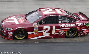 Ryan Blaney will drive the No. 21 Virginia Tech/Motorcraft Ford on Saturday night in the BAss Pro Shops NRA Night Race. Photo by Jonathan McCoy