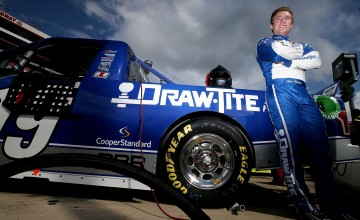 BRISTOL, TN - AUGUST 19:  Tyler Reddick, driver of the #19 Draw Tite Ford, stands on the grid during qualifying for the NASCAR Camping World Truck Series UNOH 200 race at Bristol Motor Speedway on August 19, 2015 in Bristol, Tennessee.  (Photo by Sean Gardner/NASCAR via Getty Images)