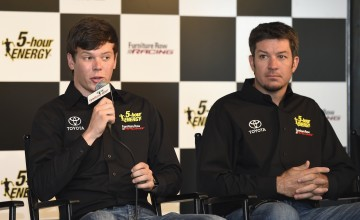 WATKINS GLEN, NY - AUGUST 07:  (L-R) Erik Jones and Martin Truex Jr., driver of the #78 Furniture Row Toyota, speak to the media after announcing Jones will drive the #77 5 -hour Energy Toyota for Furniture Row Racing in 2017 prior to the NASCAR Sprint Cup Series Cheez-It 355 at Watkins Glen International on August 7, 2016 in Watkins Glen, New York.  (Photo by Josh Hedges/Getty Images)
