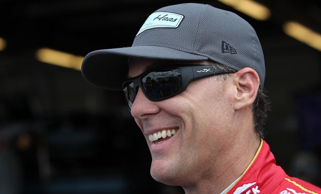 JOLIET, IL - AUGUST 23:  Kevin Harvick, driver of the #4 Jimmy John's/Busch Beer Chevrolet, smiles while talking to reporters during testing at Chicagoland Speedway on August 23, 2016 in Joliet, Illinois. (Photo by Dylan Buell/NASCAR via Getty Images)