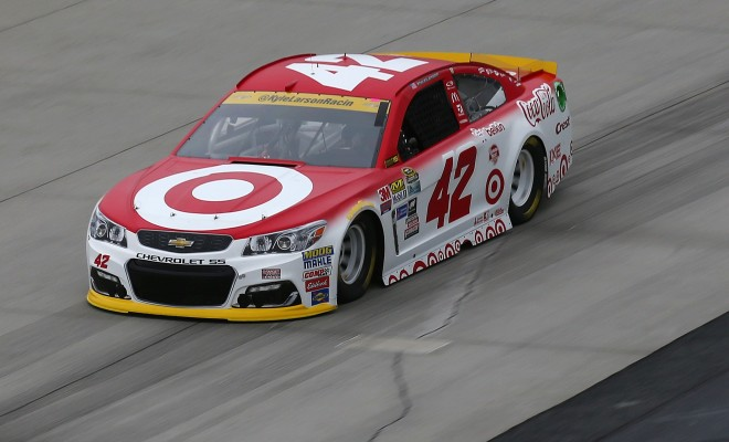 DOVER, DE - SEPTEMBER 30:  Kyle Larson, driver of the #42 Target Chevrolet, practices for the NASCAR Sprint Cup Series Citizen Solider 400 at Dover International Speedway on September 30, 2016 in Dover, Delaware.  (Photo by Sarah Crabill/NASCAR via Getty Images)