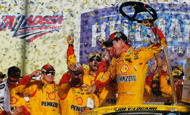 TALLADEGA, AL - OCTOBER 23:  Joey Logano, driver of the #22 Shell Pennzoil Ford, celebrates in Victory Lane after winning the NASCAR Sprint Cup Series Hellmann's 500 at Talladega Superspeedway on October 23, 2016 in Talladega, Alabama.  (Photo by Jonathan Ferrey/NASCAR via Getty Images)