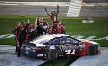 DAYTONA BEACH, FL - FEBRUARY 26:  Kurt Busch, driver of the #41 Haas Automation/Monster Energy Ford, celebrates with his crew after winning the 59th Annual DAYTONA 500 at Daytona International Speedway on February 26, 2017 in Daytona Beach, Florida.  (Photo by Chris Graythen/Getty Images)