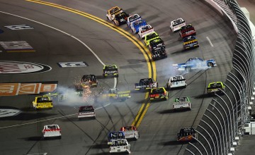 DAYTONA BEACH, FL - FEBRUARY 24:  Austin Cindric, driver of the #19 Draw-Tite/Reese Brands Ford, spins during the NASCAR Camping World Truck Series NextEra Energy Resources 250 at Daytona International Speedway on February 24, 2017 in Daytona Beach, Florida.  (Photo by Jared C. Tilton/Getty Images)