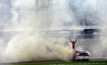 DAYTONA BEACH, FL - FEBRUARY 25:  Ryan Reed, driver of the #16 Lilly Diabetes Ford, celebrates winning the NASCAR XFINITY Series PowerShares QQQ 300 at Daytona International Speedway on February 25, 2017 in Daytona Beach, Florida.  (Photo by Jared C. Tilton/Getty Images)