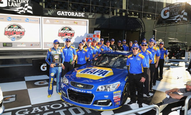 DAYTONA BEACH, FL - FEBRUARY 19:  Chase Elliott, driver of the #24 NAPA Chevrolet, celebrates in Victory Lane after qualifying for pole position for the Monster Energy NASCAR Cup Series 59th Annual DAYTONA 500 at Daytona International Speedway on February 19, 2017 in Daytona Beach, Florida.  (Photo by Jerry Markland/Getty Images)
