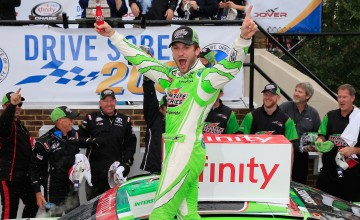 DOVER, DE - OCTOBER 02:  Daniel Suarez, driver of the #19 Interstate Batteries Toyota, celebrates in Victory Lane after winning the NASCAR XFINITY Series Drive Sober 200 at Dover International Speedway on October 2, 2016 in Dover, Delaware.  (Photo by Chris Trotman/Getty Images)